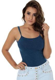 Body Eventual Justo Feminino - Feminino-Azul