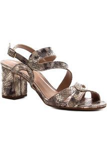 Sandália Shoestock Salto Bloco Snake Curves Feminina - Feminino-Dourado