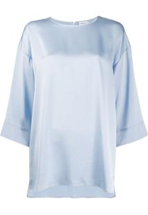 Filippa K Blusa Lydia Cropped Com Mangas Amplas - Azul