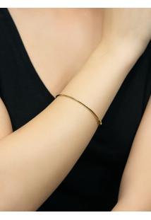Pulseira De Ouro 18K Feminina Bracelete Algema Redonda