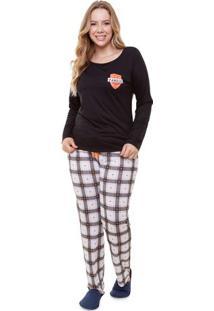 Pijama Longo Feminino Plus Size Família Time Xadrez Luna Cuore