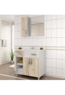 Gabinete Para Banheiro Com Espelheira Balcony Ônix 80 Não Acompanha Torneira Artico/Cabernet