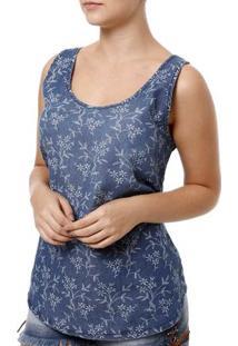 Blusa Regata Feminina Cativa Jeans Azul