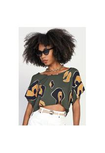 Camiseta Cropped Forum Abstrata Verde/Preta