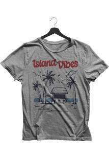 Camiseta Jay Jay Bã¡Sica Island Vibes Cinza Mescla Dtg - Cinza - Feminino - Dafiti