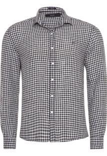 Camisa Masculina Vichy Classic New Italian - Preto