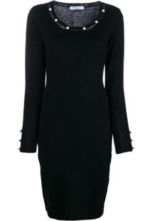 Blumarine Vestido Com Aplicação De Esferas Peroladas - Preto