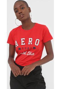 Camiseta Aeropostale Bordada Vermelha