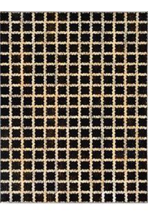 Tapete Marbella Pierry Retangular (150X200Cm) Preto E Creme