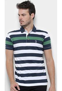 Camisa Polo Aleatory Listrada Fio Tinto Masculina - Masculino-Marinho+Verde