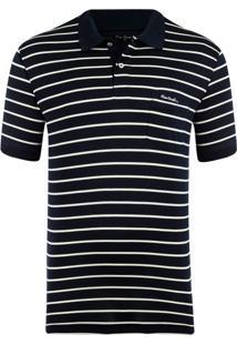 Polo Fio Escócia Navy Stripes