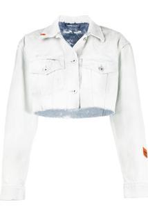 Heron Preston Jaqueta Jeans Com Acabamento Desfiado - Azul
