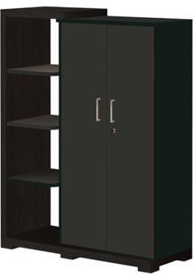 Armário 2 Portas, 3 Prateleiras Externas, Terrano/Preto, Techno