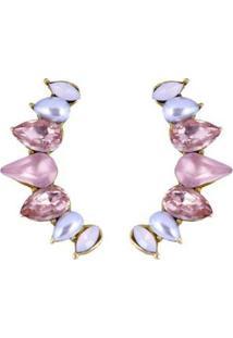 Brinco Ear Cuff Armazem Rr Bijoux Cristais Rose Dourado - Feminino