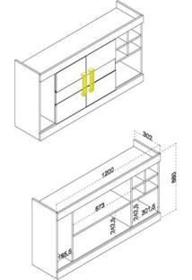 Armário 2 Portas Com Vidro Adega E Nichos 120Cm Cozinha Nápole Movelbento Rústico