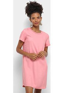 Vestido Forum Curto Reto Básico - Feminino-Rosa