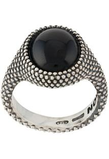 Nove25 Dotted Round Onyx Signet Ring - Prateado