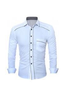 Camisa Masculina Manga Longa 7673 - Branca