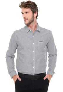Camisa Mr Kitsch Reta Listrada Preta/Off-White