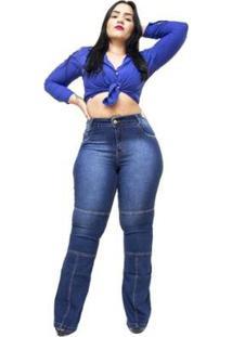 Calça Jeans Plus Size Credencial Flare Feminina - Feminino