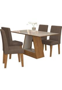 Sala De Jantar Alana 130Cm Com 4 Cadeiras Savana/Off White Chocolate