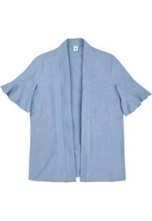 Casaco Kimono Em Viscose Com Linho Feminino - Feminino-Azul