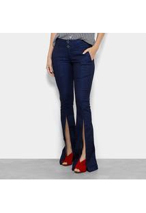 Calça Jeans Flare Morena Rosa Fendas Feminina - Feminino-Jeans