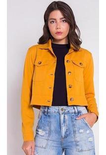 Jaqueta Areazul Cropped Feminina - Feminino-Amarelo