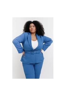Blazer Liso Almaria Plus Size Pianeta Alfaiataria Azul