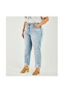 Calça Boyfriend Jeans Com Cinto Corda Curve & Plus Size   Ashua Curve E Plus Size   Azul   46