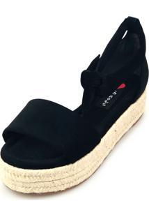 Avarca Espadrille Love Shoes Anabela Plataforma Corda Amarração Preto