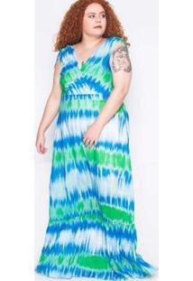 Vestido Plus Size Tie Dye Azul Claro Azul