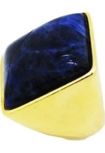 Anel Pedra Natural Quadrado Sodalita