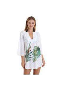 Vestido Gola V Laise Folhagem - Branco - Líquido