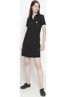 Vestido Com Bordado- Preto & Amareloclub Polo Collection