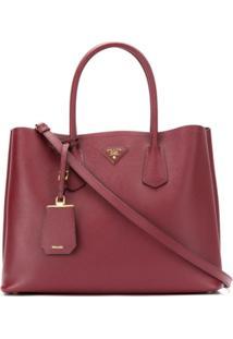 Prada Bolsa 'Double Bag' De Couro - Vermelho