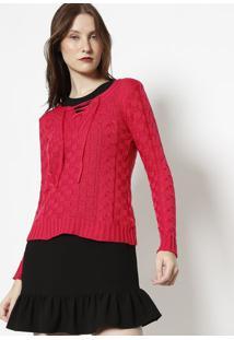 Blusa Em Tricã´ Com Amarraã§Ã£O- Pink- Ponto Aguiarponto Aguiar