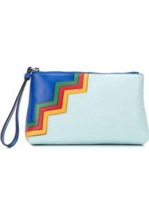 M Missoni Clutch Color Block Com Padronagem Chevron De Couro - Azul