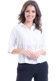 Camisa 101 Resort Wear Lisa Crepe Polo Laco Manga 34 Off White - Off-White - Feminino - Dafiti