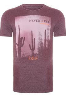 Camiseta Masculina Never Rest - Vinho