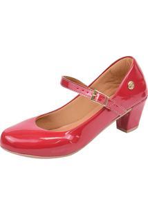 Scarpin Donna Santa Bico Redondo Boneca Vermelho - Kanui