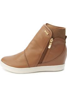 Tênis Sneaker Orcade Em Couro Caramelo