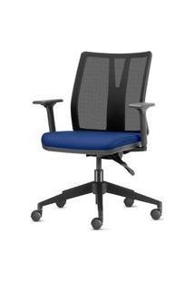 Cadeira Addit Assento Crepe Azul Com Base Piramidal Em Nylon - 54107 Azul