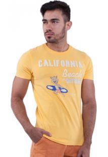 Camiseta Rota Do Mar Leão Surfista Amarelo