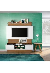 Painel Araporã Para Tv 65 Polegadas Branco Brilho Off-White E Freijo 181 Cm
