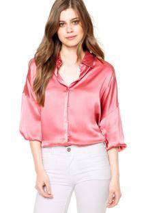 Camisa Manga Longa Forum Ampla Rosa