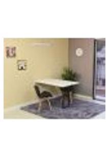 Conjunto De Mesa Dobrável Retrátil 120 X 75 Branca + 2 Cadeiras Slim - Preta