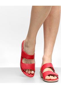 Tamanco Anabela Piccadilly Velcro - Feminino-Vermelho