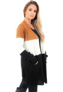 Blusa Feminina Livora Tricolor Com Bolso Caramelo