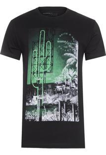 Camiseta Masculina Estampada Cactus Neon - Preto